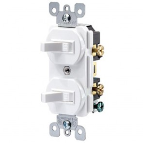 Double Toggle Switch, 2 Pole, 15 Amp