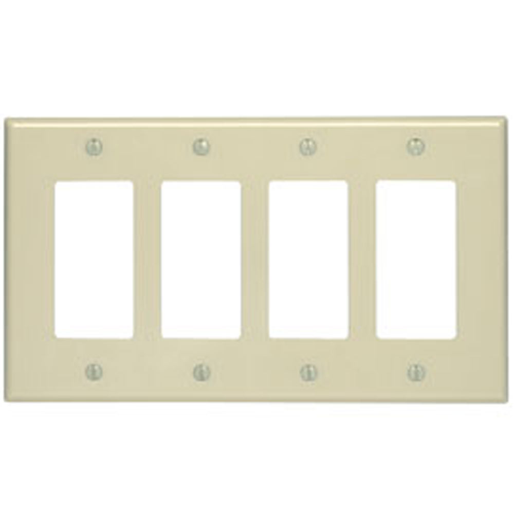 Leviton Wallplate 4 Gang Wallplate Decora Wallplate