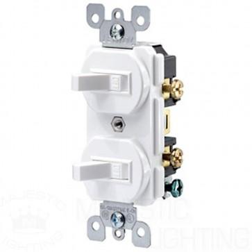 Double Toggle Switch, 2 Pole, 15 Amp