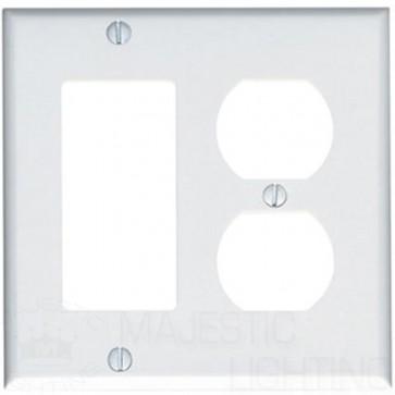 2-Gang Combination Wall Plate, 1-Decora & 1-Duplex