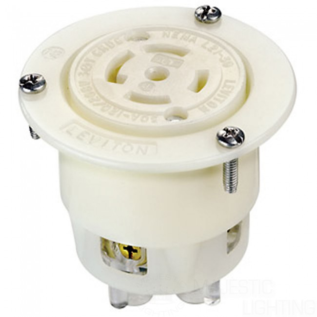 L21-30R Locking Flanged Outlet Receptacle - White - majestic ...