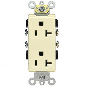 20A Decora Plus Duplex Receptacle, Commercial Grade, Self Grounding - Ivory