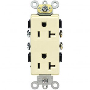 20A Decora Plus Duplex Receptacle, Commercial Grade, Self Grounding - White