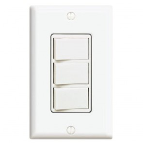 15 Amp Three Rocker Switch Decora Combo Device - Ivory