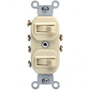 Duplex Combination Switch, Double 3-Way Toggle Switch; Commercial Grade