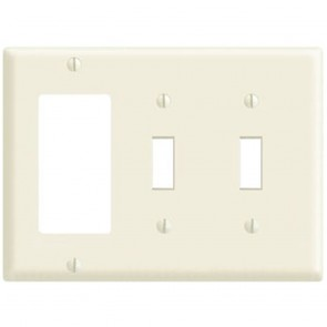 3-Gang Combination Wall Plate, 2-Toggle Switch & 1-Decora