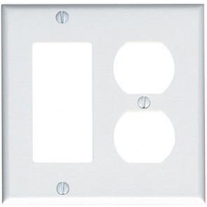 2-Gang Combination Wall Plate, 1-Decora & 1-Duplex