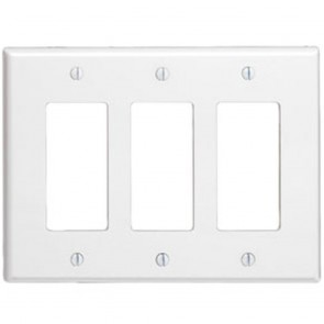 3-Gang Decora midway size smooth plastic wallplate