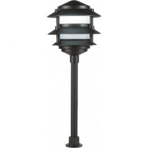 Orbit Landscape Light, LED, 2W, Outdoor, 3-Tier Pgoda Frosted Lens, 3000K Cool White - Black