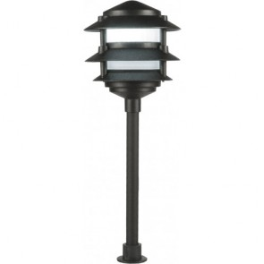Orbit Landscape Light, LED, 2W, Outdoor, 3-Tier Pgoda Frosted Lens, 4700K Warm White - Bronze